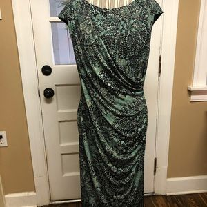 Connected faux wrap dress with ruching at waist